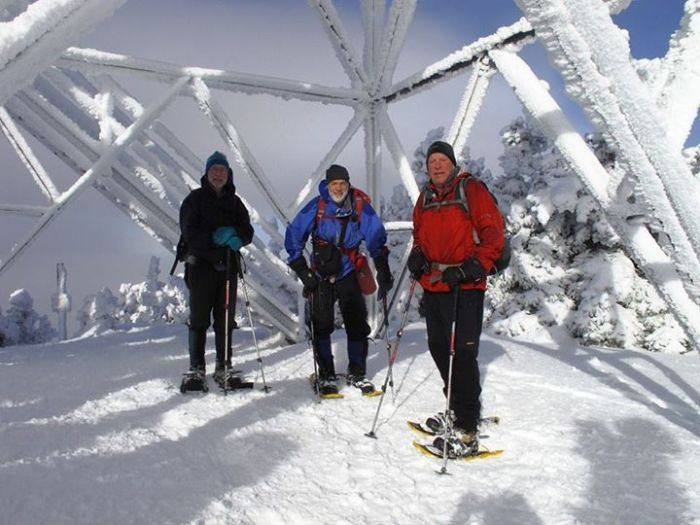 Guy, Steve and Mike under the summit tower (Courtesy of Gary Tompkins)